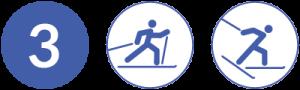 Symbolbild Loipe 3, Schwierigkeit blau, Skating und Klassisch