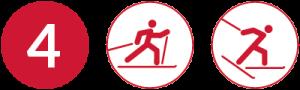 Symbolbild Loipe 4, Schwierigkeit rot, Skating und Klassisch