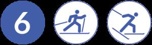 Symbolbild Loipe 6, Schwierigkeit blau, Skating und Klassisch