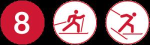 Symbolbild Loipe 8, Schwierigkeit rot, Skating und Klassisch