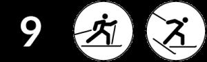 Symbolbild Loipe 9, Schwierigkeit schwarz, Skating und Klassisch