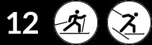 Symbolbild Loipe 12, Schwierigkeit schwarz, Skating und Klassisch