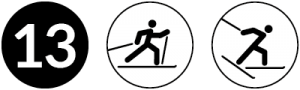 Symbolbild Loipe 13, Schwierigkeit schwarz, Skating und Klassisch