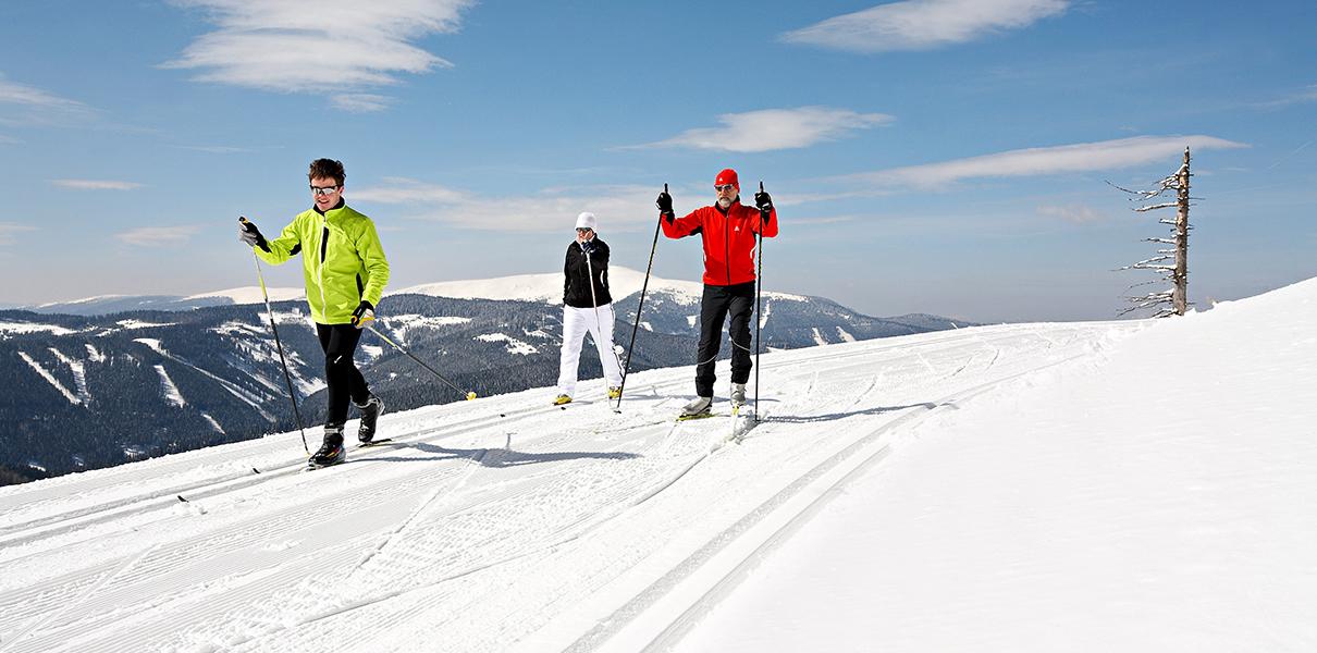 3 Langläufer auf der Rundloipe Feistritzsattel